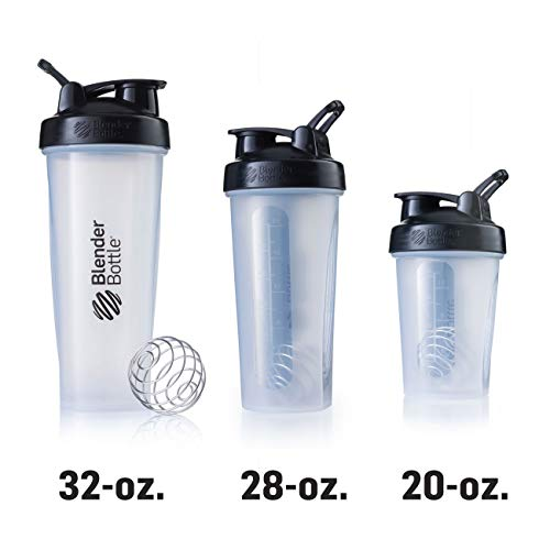 BlenderBottle Classic Loop Top Shaker Bottle, 28-Ounce, Clear/Black