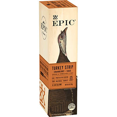EPIC Turkey Cranberry Sage Strips, Keto Friendly, 10Ct Box 0.8oz strips