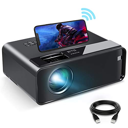 "Mini Projector for iPhone, ELEPHAS 2020 WiFi Movie Projector with Synchronize Smartphone Screen, 1080P HD Portable Projector with 4600L and 200"" Screen, Compatible with Android/iOS/HDMI/USB/SD/VGA"