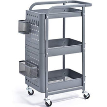 KINGRACK 3-Tier Storage Rolling Cart, Metal Push Cart with DIY Pegboard, Trolley Organizer with Utility Handle and Extra Baskets Hooks for Kitchen, Office, Home, Grey
