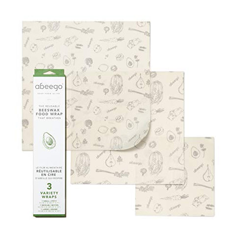 "Abeego, The Original Beeswax Food Storage Wrap - Set of Three, 7"" 10"" and 13"" Natural Square Sheets"