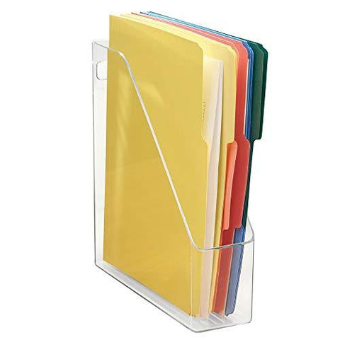 mDesign Plastic File Folder Bin Storage Organizer - Vertical with Handle - Holds Notebooks, Binders, Envelopes, Magazines - Container for Home Office and Work Desktops - Clear
