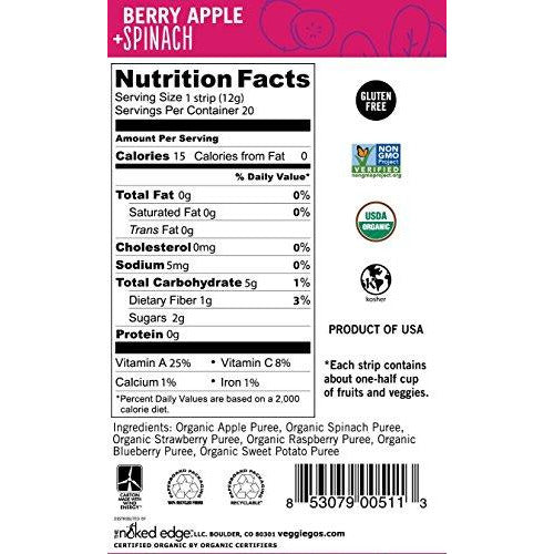 Wildmade Veggie Go's Fruit and Veggie Strips (Berry, Apple + Spinach) Organic Fruit Leather with No Added Sugar for Kids and Adults - Gluten-Free, Non-GMO, Vegan - 20 Pack