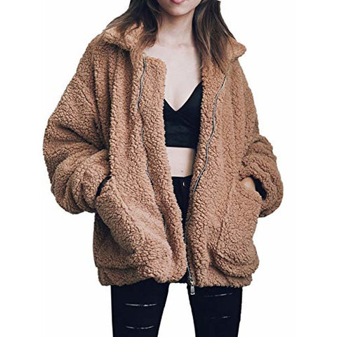 Gzbinz Women's Casual Warm Faux Shearling Coat Jacket Autumn Winter Long Sleeve Lapel Fluffy Fur Outwear Camel M