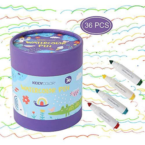 KIDDYCOLOR 36 Colors Markers for Kids Washable Coloring Markers Conical Tip Broad Line Markers for Childrens