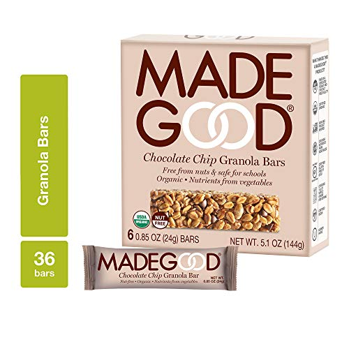 MadeGood Chocolate Chip Granola Bars, 6 Pack (36 bars); Gluten Free Oats and Delicious Chocolate Chips; Allergy-Friendly