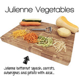 Precision Kitchenware - Ultra Sharp Stainless Steel Dual Julienne & Vegetable Peeler with Cleaning Brush & Blade Guard