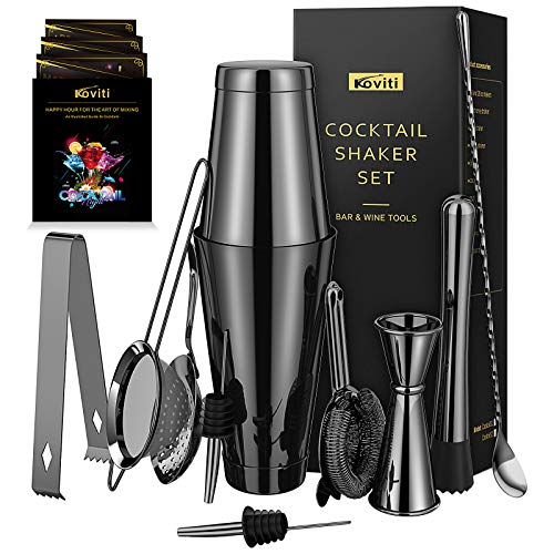 Cocktail Shaker - Koviti 12 Piece Bartender Kit - Stainless Steel Cocktail Shaker Set, Premium Bar Set for Home, Bars, Parties and Traveling(Black)