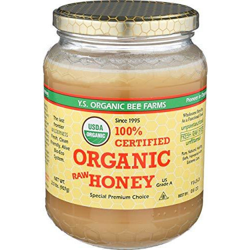 YS Organic Bee Farms CERTIFIED ORGANIC RAW HONEY 100% CERTIFIED ORGANIC HONEY Raw, Unprocessed, Unpasteurized - Kosher 32oz(pack of 1)