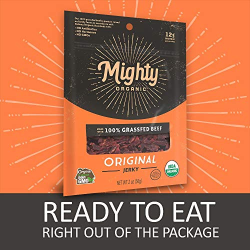 100% Grass Fed Beef Jerky, Keto Snacks, Original, Mighty Organic, 2oz (Pack of 8)