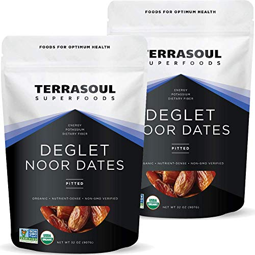 Terrasoul Superfoods Organic Deglet Dates, 4 Lbs (2 Pack) - Pitted | Fresh | Natural Sweetener