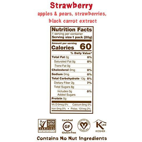 BEAR Real Fruit Snack Rolls - Gluten Free, Vegan, and Non-GMO - Strawberry – 12 Pack (2 Rolls Per Pack) - Healthy School And Lunch Snacks For Kids And Adults