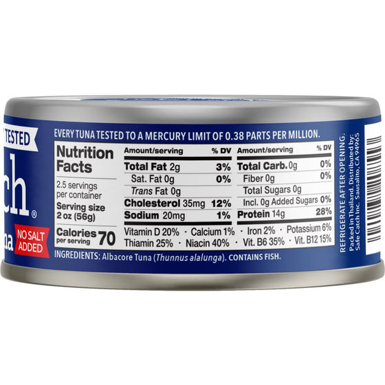 Safe Catch Wild Albacore Tuna No Salt Added, 6 Piece