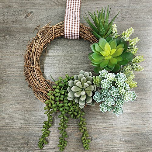 Winlyn 6 Pcs Unpotted Fake Succulents Assorted Faux Succulent in Different Green Artificial Hanging Succulents Textured Faux Succulent Pick Hanging String of Pearls Plant for Wedding Centerpieces