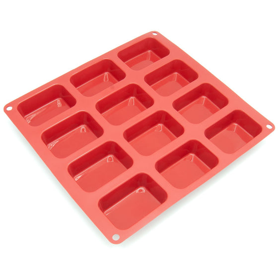 Freshware Silicone Mold, Soap Mold for Pudding, Muffin, Loaf, Brownie, Cornbread, and Cheesecake, Mini, 12-Cavity