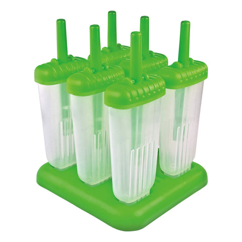 Tovolo Groovy Ice Pop Molds, Drip-Guard Handle, 4 Ounce Popsicles, Set of 6, Green