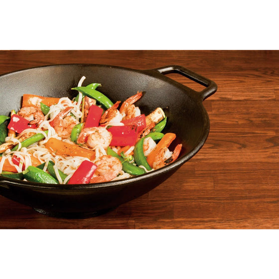 Lodge P14W3 Pro-Logic Cast Iron Wok, 14-inch, Black