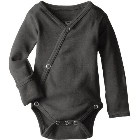 L'ovedbaby Unisex-Baby Organic Cotton Kimono Long Sleeve Bodysuit, Gray, 3/6 Months