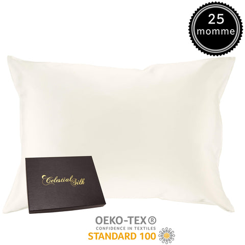 100% Silk Pillowcase for Hair -  25 Momme Mulberry Silk Charmeuse - Gift Wrapped- (King, Natural Undyed White)