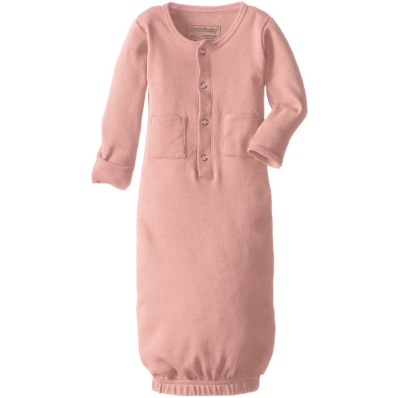 L'ovedbaby Unisex-Baby Organic Cotton Gown, Coral, 0/3 Months