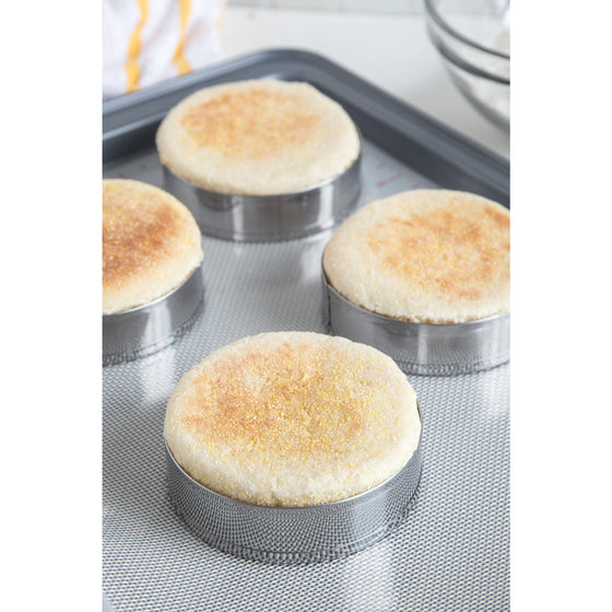 Fox Run 4685 English Muffin Ring Molds, Set of 4, Silver