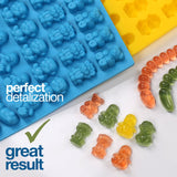 Gummy Bear Mold  (Yellow, Blue) - Set of 2 for 86 Candies - Bpa Free Silicone