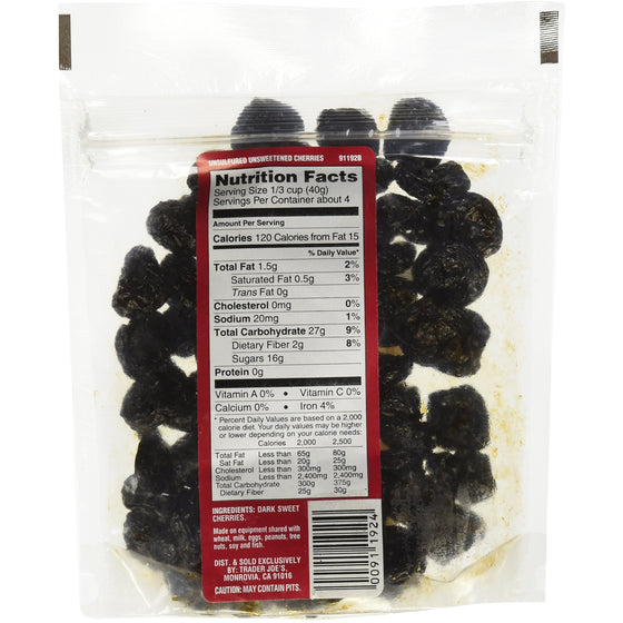 Trader Joe's Dried Fruit Unsweetened Unsulfulred Dark Sweet Cherries 6 ounces