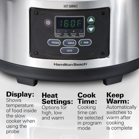 Hamilton Beach Portable 6-Quart Set & Forget Digital Programmable Slow Cooker With Temperature Probe, Lid Lock, Stainless Steel (33969A)