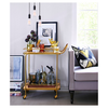 Threshold MetalWoodLeather Bar Cart Gold