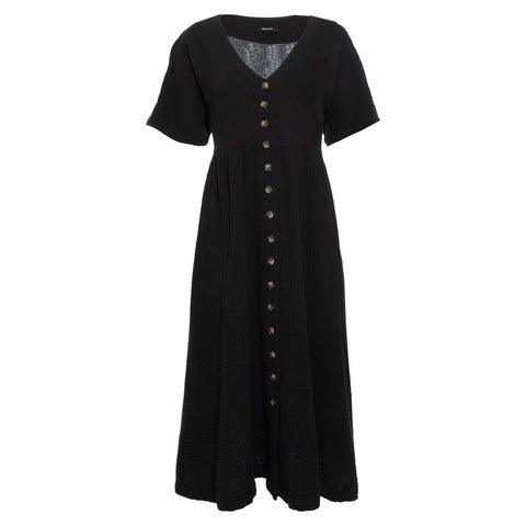 Button Front Gauze Midi Dress