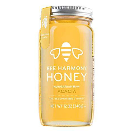 Bee Harmony Hungarian Raw Acacia Honey, 12 Ounce