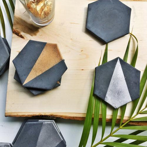 Charcoal Hexagon Concrete Coaster with Gold (Set of Four)