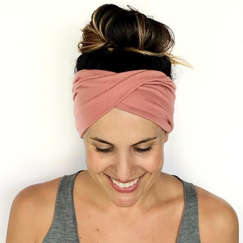 Blush Double Twist Headband - Turban Headband - Wide Headband - Yoga Headband - Workout Headband - Nurse Headband