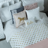 18 Inch doll bedding, Horse doll bedding, cowgirl doll bedding, Blush pink bedding, Gold doll bedding, doll bed bedding