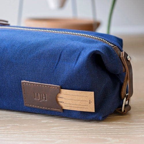Personalized Dopp Kit: Expandable Men's Toiletry Bag, Monogrammed Made in USA