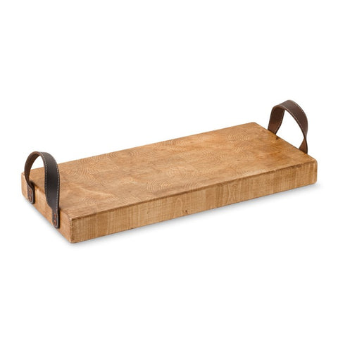 Rustic Rectangular Tray with Leather Handles