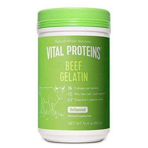 Vital Proteins Beef Gelatin : Pasture-Raised, Grass-Fed, Non-GMO - Gluten free, Dairy free, Sugar free, Whole30 Approved, and Paleo friendly, 16.4 Ounce (Pack of 1)