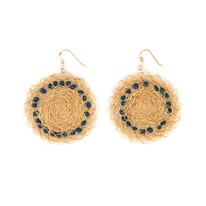 Gold Disc Earrings with Blue Stones