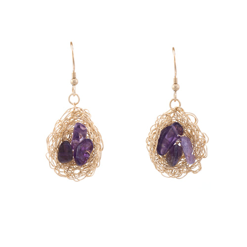 Birds Nest Earrings with Amethyst Stones
