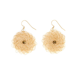 Gold Disc Earring with Swarovski Crystals