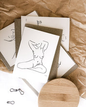 Load image into Gallery viewer, Nude line art by elk draws of a woman at home in her body greeting card 100% post consumer recycled paper