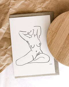 Nude line art by elk draws of a woman at home in her body greeting card 100% post consumer recycled paper