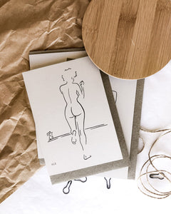 Nude line art drawing by elk draws of woman drinking coffee on 100% recycled paper greeting card