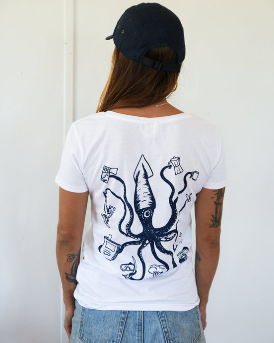 girl wearing white tshirt covid19 corona virus slim fit organic art by elk draws