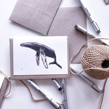 Load image into Gallery viewer, Hand drawn humpback whale greeting card on recycled paper by elk draws