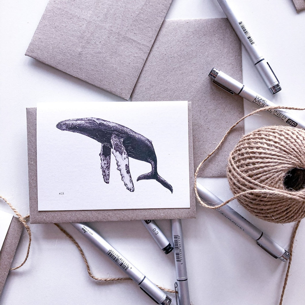 Hand drawn humpback whale greeting card on recycled paper by elk draws