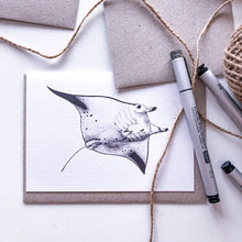Load image into Gallery viewer, Hand drawn black and white manta ray blank greeting card by elk draws