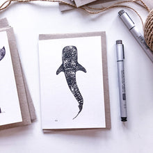 Load image into Gallery viewer, Hand drawn black and white  whale shark greeting card by elk draws