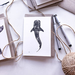 Hand drawn greeting card bundle whale shark on recycled paper by elk draws