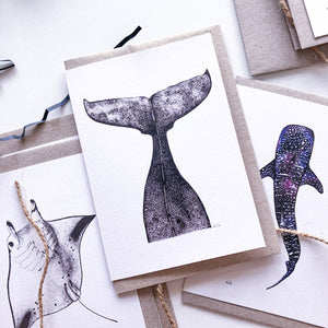 Hand drawn whale tail manta ray whale shark greeting cards on recycled paperby elk draws